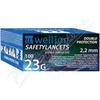 Wellion safety lancets 23G jednoráz. bezp. jeh. 100ks