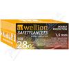 Wellion safety lancets 28G jednoráz. bezp. jeh. 100ks